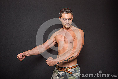 Muscular athletic man without shirt