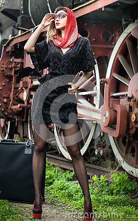 Free Sexy Attractive Girl Waiting For Landing On The Platform In The Vintage Train Stock Images - 30652874