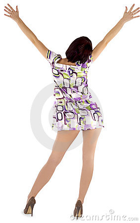 Sexy backside brunette over white background