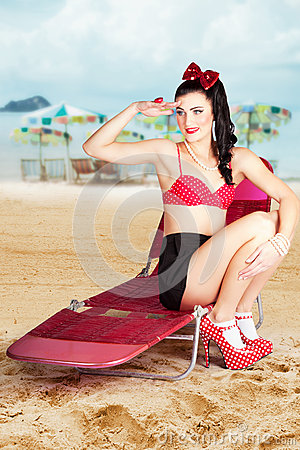Sexy beach pin up girl wearing high heels