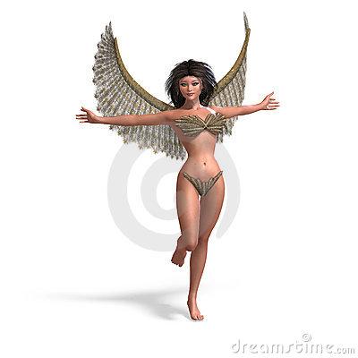 Sexy and beautiful angel with wings