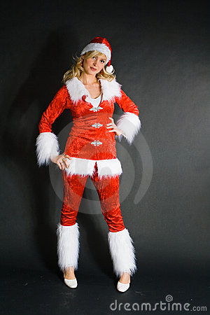 Sexy beautiful blond girl dressed as Santa