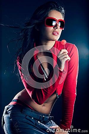 Sexy beautiful dancing hip hop girl