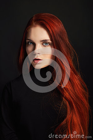 Free Sexy Beautiful Redhead Girl With Long Hair. Perfect Woman Portrait On Black Background. Gorgeous Hair And Deep Eyes Natural Beauty Royalty Free Stock Photo - 94328725