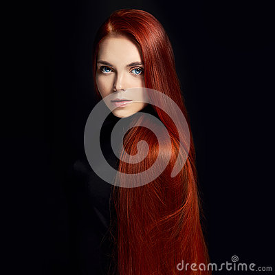 Free Sexy Beautiful Redhead Girl With Long Hair. Perfect Woman Portrait On Black Background. Gorgeous Hair And Deep Eyes Natural Beauty Royalty Free Stock Image - 94328776