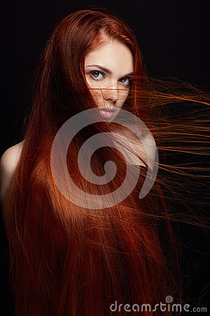 Free Sexy Beautiful Redhead Girl With Long Hair. Perfect Woman Portrait On Black Background Gorgeous Hair And Deep Eyes. Natural Beauty Stock Image - 94329151