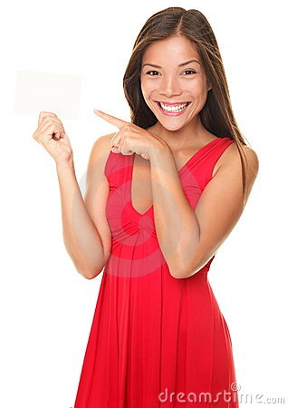 Free Sexy Beautiful Smiling Woman Pointing At Sign Card Stock Image - 17115571