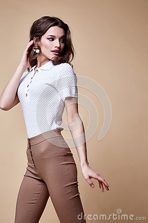Free Sexy Beautiful Woman Fashion Glamour Model Brunette Hair Makeup Wear Silk Blouse Trousers Clothes For Every Day Casual Party Style Royalty Free Stock Images - 146808269