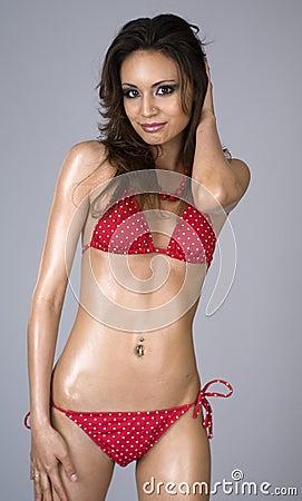 Sexy beautiful woman wearing red bikini
