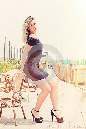 Free Sexy Beautiful Young Blonde Model. Stunning Body. Outdoors Stock Photography - 67467442