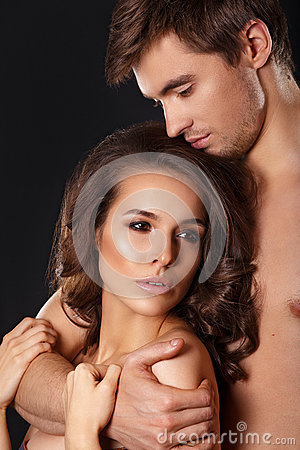 Free Sexy Beauty Couple.Kissing Couple Portrait.Sensual Brunette Woman In Underwear With Young Lover, Passionate Couple Foreplay Closeu Royalty Free Stock Photo - 71610245