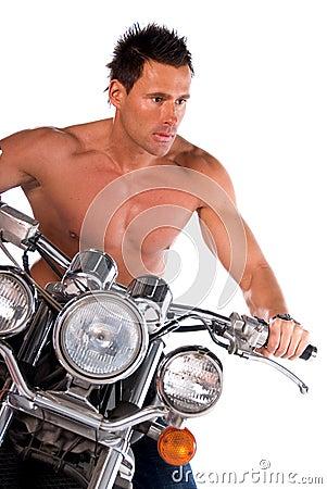 Sexy biker man.