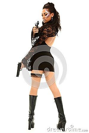 Sexy Black Female Aiming Handgun At Camera