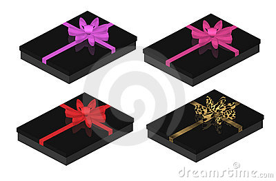 Sexy Black Gift Boxes with Bows