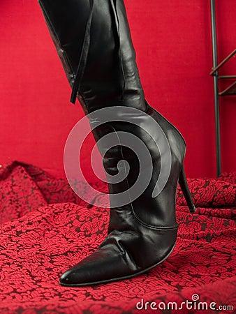 Sexy black stiletto heel boot