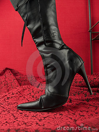 Sexy black stiletto heel boot