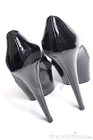 Sexy black stiletto high heels from the back