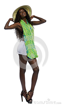 Free Sexy Black Woman Holding Onto Her Sun Hat Stock Image - 30674641