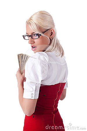 Sexy blond business woman hide money