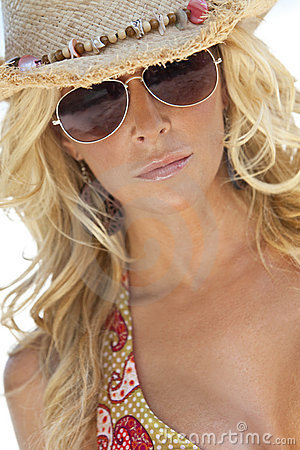 Sexy Blond Girl In Aviator Sunglasses & Straw Hat