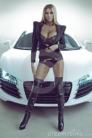 Sexy Blond Model In Lingerie With Car Stock Image Image