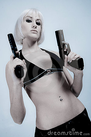 Sexy blond with pistols
