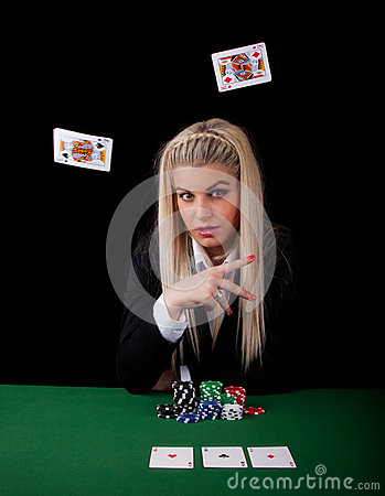 Sexy blond playing poker