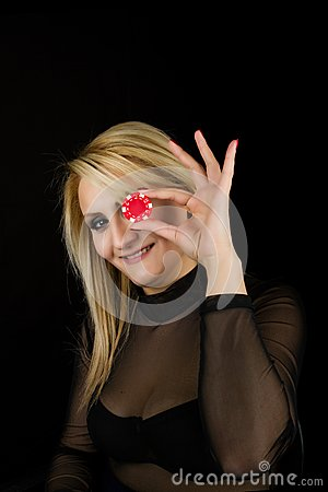 Sexy Blond with Red Poker Chip