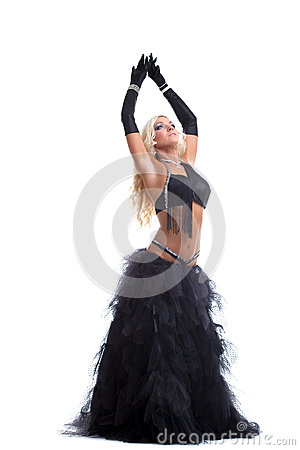 Sexy blond woman dance in oriental costume