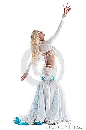 blond woman dance in oriental costume