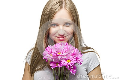 Sexy Blond Woman with Flowers