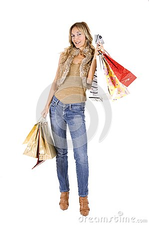 Sexy blond woman with shopping bags