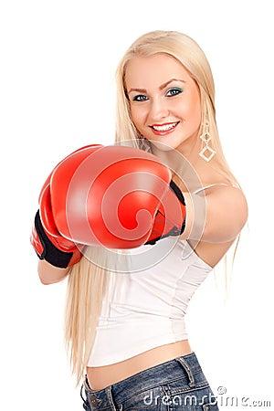 Sexy Frau mit Boxhandschuhen