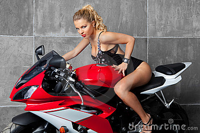 Sexy Blonde on sportbike