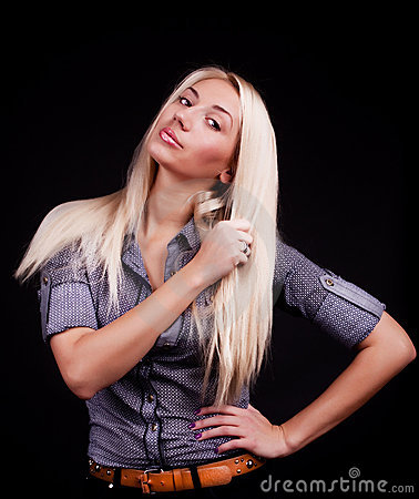 Sexy blonde staring
