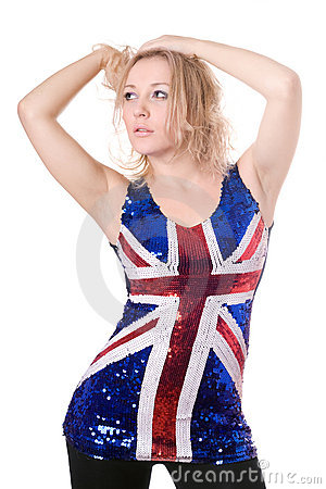Sexy blonde wearing union-flag shirt