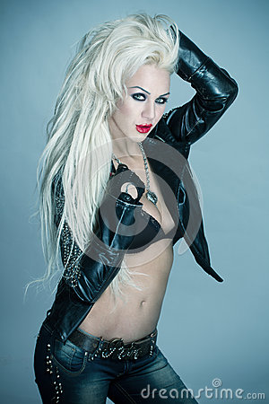 Free Sexy Blonde Woman Rockstar Royalty Free Stock Photo - 31551215