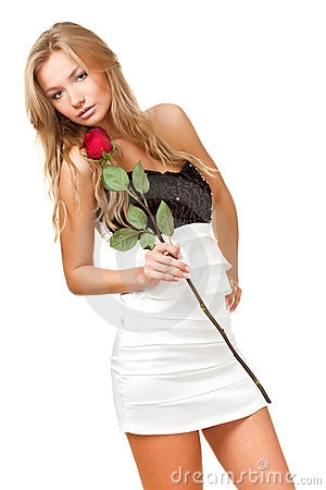 Sexy blonde woman with rose