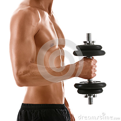 Sexy body of muscular man with weight