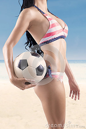 Sexy body with soccer ball