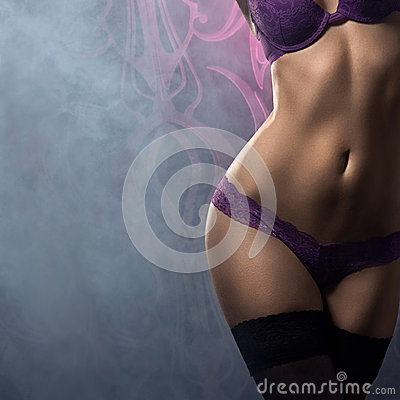 Sexy body of a young woman in erotic lingerie