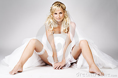 Sexy bride on the floor