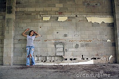Sexy Brunette at a Block Wall (1)