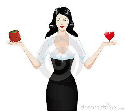 Sexy brunette holding heart and wallet
