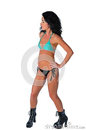 Sexy brunette sporting two piece bikini