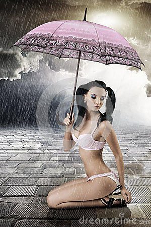 Sexy brunette with umbrella, s