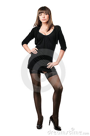 Sexy brunette wearing black dress