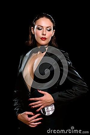 Sexy brunette wearing a black suit