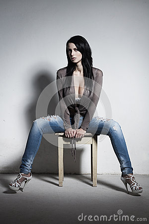 Free Sexy Brunette With Huge Boobs Royalty Free Stock Photography - 36359097