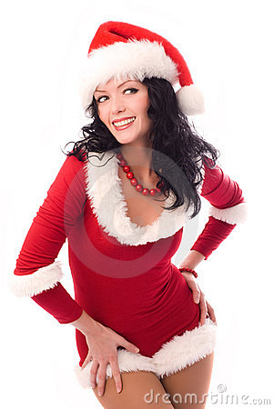Free Sexy Brunette Woman Dressed As Santa Royalty Free Stock Image - 7026666